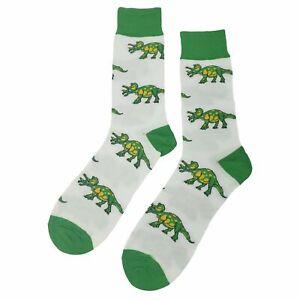 NWT Triceratops Dinosaur Dress Socks Novelty Men 8-12 White Fun Sockfly