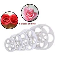 6Pcs Fondant Cake Sugarcraft Rose Flower Cookie Mold Gum Paste Cutter Tool Fast