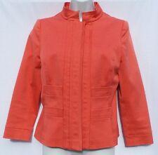 OSCAR DE LA RENTA Coral Salmon Cotton Twill Fitted Hidden Button Blazer Jacket 6
