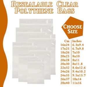 Extra Large Grip Seal Zip Lock Polythene Resealable Clear Plastic Bags 1-100,000