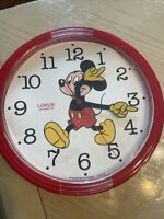 "Vintage Lorus Disney Mickey Mouse Wall Clock Red 10"" Quartz Japan V"