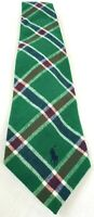 Polo Ralph Lauren Men's Necktie Green & Red Plaid Cotton Tie Christmas/Holiday