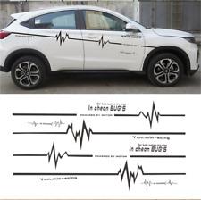 2X Black ECG Heart Beat Drawing Car Body Door Sticker Lettering Decal Universal
