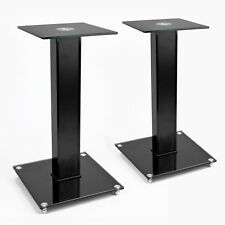 TekBox 2x SPEAKER STAND - Modern Black Glass Platform Surround Sound TV Units