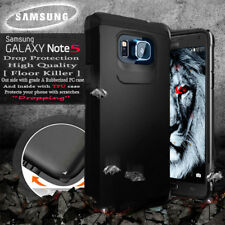 Samsung GALAXY Note 5 Armor Rubber Rugged Black Case Cover With Screen Protector