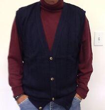Michael Thomas Egyptian Cotton - Full Fashion Navy Cable Cardigan Vest USA MADE