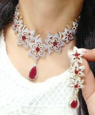 Indian Floral Red Stone Beaded Choker Necklace Set With Earring Anniversary Gift
