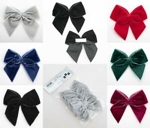 10cm Large Velvet Bows - Self Adhesive Pre Tied 38mm Ribbon 1 , 2, 3 or 6 Pack