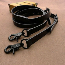 Vegetable Tanning Genuine Leather Strap men Suspender Y back Belt Bib Pant Black