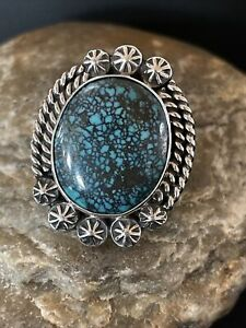 Navajo Native American Sterling Silver Blue Spiderweb Turquoise Ring Sz 7.5 1067