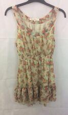 Miso Cream Floral Print Floaty Layered Hem Tea Dress Size 12