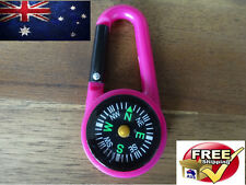PINK 2 IN 1 MINI OUTDOOR CAMPING KEYCHAIN HOOK COMPASS CARABINER NAVIGATION NEW