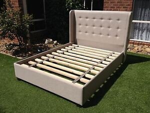 Devon Upholstered Bed / Queen Size Winged Bed / Australian Made Beds
