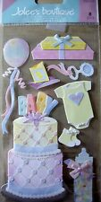 NEW 8 pc BABY SHOWER Cake Gift Bottle Booties Baloons Rattle JOLEE'S 3D Stickers