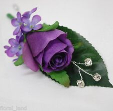 5x Silk wedding flower flowers purple rose roses button hole groom diamante