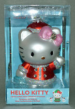 """NEW IN Box RED SANTA SUIT Hello Kitty Glass Ornament 5"""" Pink Bow CHRISTMAS Tree!"""