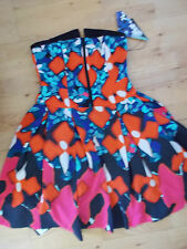 PETER PILOTTO Target Strapless Red Iris FLORAL MATELASSE DRESS UK 12 14 US 10