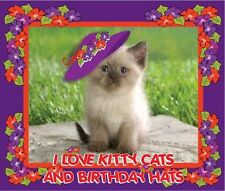 """RED T SHIRT 4X """"I LOVE KITTY CATS & BIRTHDAY HATS"""" FOR LADIES OF SOCIETY"""