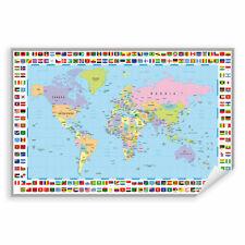 Postereck 0609 Poster Leinwand Politische Weltkarte, Flaggen Länder Kontinente