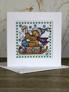 Completed Cross Stitch Teddy With Presents  Christmas  Card 5.5x5.5inch