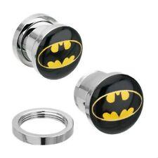 Ear Plug Tunnel Batman Superhero Logo Steel Screw Fit Flesh Stretcher 6-22mm