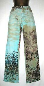 "ROBERTO CAVALLI 26 / 40 / 8 Stunning Vintage Turquoise Floral Jeans W29"" L34"""