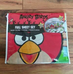 Angry Birds Full Size Sheet Set Bad Piggies Kids Teen Checkered Colorful NWT