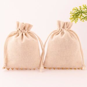 100 Pcs Cotton Drawstring Pouch For Jewelry Packaging 3x4 Inch