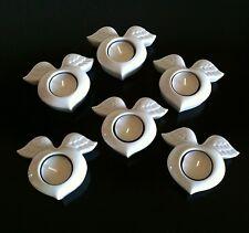 6 x Hutschenreuther Teelicht  Flying Heart, Porzellan / Weihnachten  wie neu !!