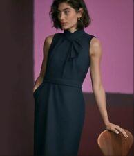 MM Lafleur Dina Dress Sharkskin Ink Wool Blend Navy Blue Dress Size 10 $325