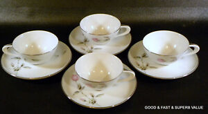 8 pcs STYLE HOUSE fine china DAWN ROSE pattern ~ 4 Flat Cup & Saucer Sets