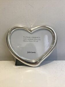 "John Lewis New Heart Shape Silverplated Picture Frame (takes 4""x6"" Picture)"