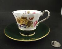 AYNSLEY GREEN BAND FLORAL  CABINET TEA CUP AND SAUCER