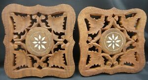 2 Wooden Trivets made in India, handmade