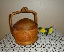 Very Unique Collectible Vintage Hand Made Woven Sewing Storage Basket With Lid