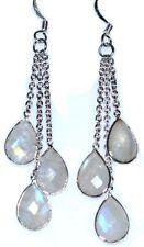 Sterling 925 SILVER Natural Rainbow Moonstone Earrings Long drop, Multi Gemstone