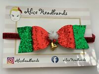 Christmas Glitter Bow RED GREEN with Bell Baby Girl Headbands Red Glitter Bands