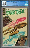 Star Trek #4 CGC 8.0 White Shatner Nimoy Kirk Spock Photo Cover Gold Key