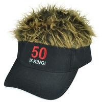 50 Is King Flair Faux Fur Hair Brown Black Adjustable  Hat Visor Sun Cap