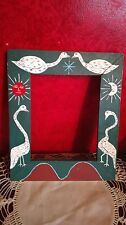 VTG Retro Picture Frame Mid Century MCM Wood Hand Painted Moon Sun Birds Mod 60s