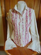 Ben Sherman Top Long sleeved white pink shirt Size 14 Used