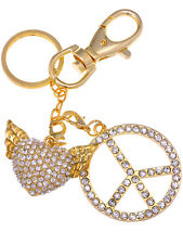 Gold  Iced Crystal Rhines Happy Peace Love Wing Heart Hook Clip Keychain Ali