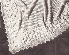 "VINTAGE BABY SHAWL  /  Sq 52"" - 2ply  - COPY baby knitting pattern"