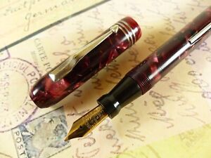 Red Marble Mabie Todd @ Co Swan Fountain Pen - restored