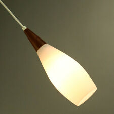 Pendel Leuchte Teak & Glas Hänge Lampe Dänemark Vintage Pendant 50er 60er Jahre