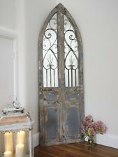Large Decorative Gothic Arched Door Wooden Framed Garden Wall Mirror Arch 180cm