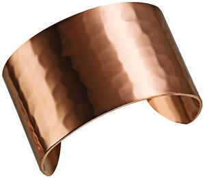 DEMMEX 1.5mm Thick Hand Crafted Hammered Solid Copper Unisex Wide Bracelet Cuff