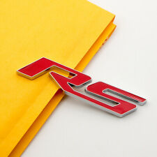 Chrome Red Coated RS Letter Metal 3D Emblem Badge Rear Lid Trunk Sticker Decal