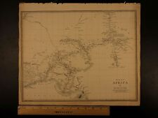 1844 BEAUTIFUL Huge Color MAP of West Africa Bight of Benin Chad Nigeria ATLAS