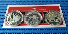 1999 Laos 3,000 KIP Lunar Year of the Rabbit Silver Proof Coin Set